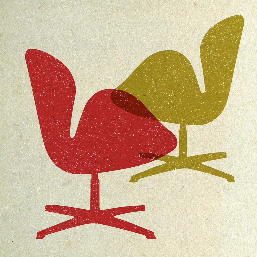 Mid-century Digital Art - Arne Jacobsen Swan Chairs I by Naxart Studio