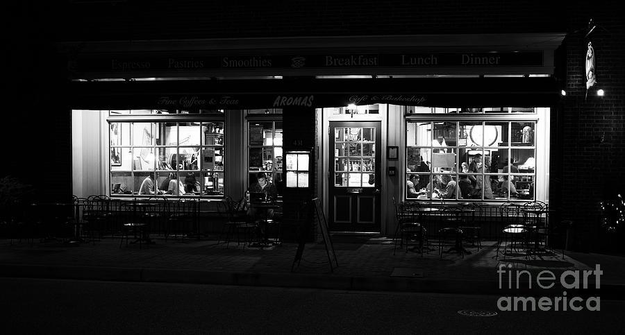 Aromas Coffeehouse at Night by Lara Morrison