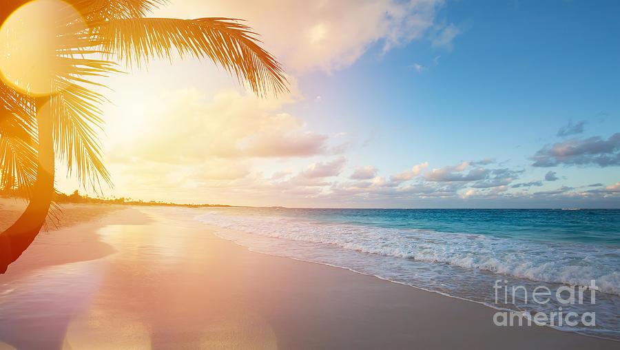Bermuda Photograph - Art Beautiful Sunrise Over The Tropical by Konstanttin