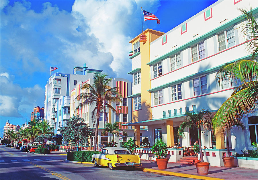Art Deco Buildings On Ocean Drive Photograph by Mitchell Funk