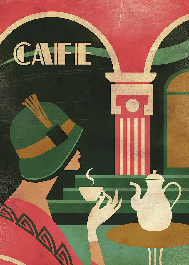Cafe Digital Art - Art Deco Cafe by Martin Wickstrom