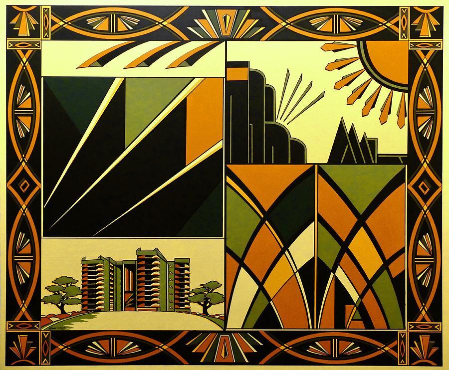Art Deco Hinton Wood Painting