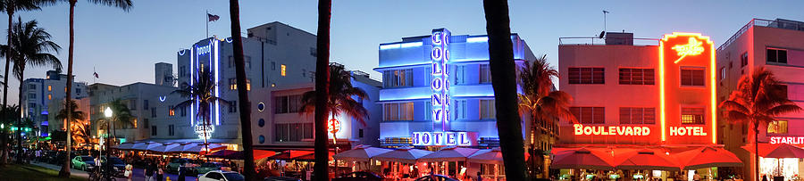 Art Deco Hotels On Ocean Drive At Dusk Photograph by Buena Vista Images