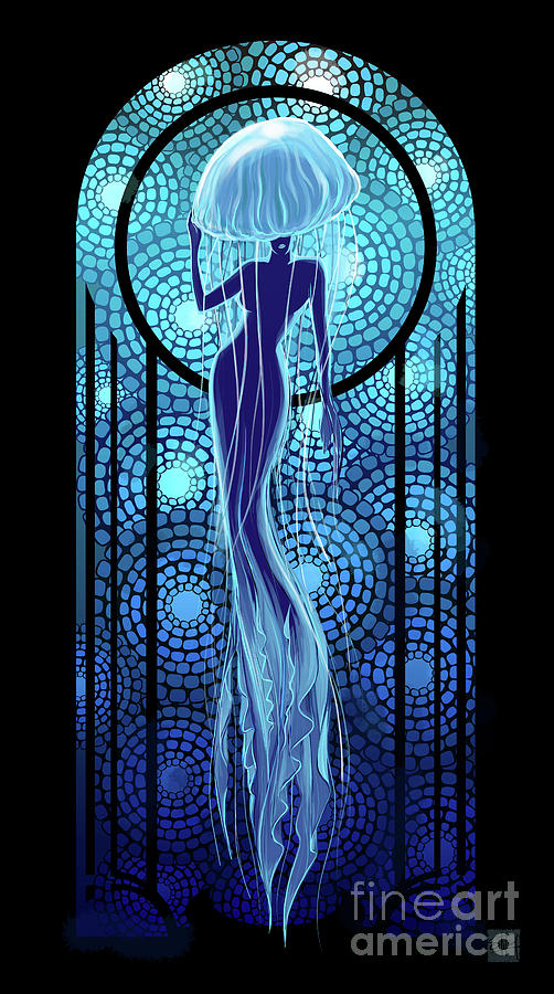 Art deco jellyfish woman by Sassan Filsoof