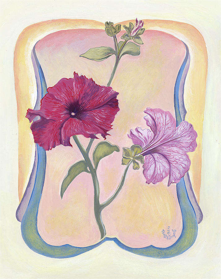 Flowers Digital Art - Art Deco Petunias by Judy Mastrangelo