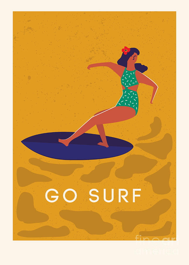 Deco Digital Art - Art Deco Surf Poster In Vector Summer by Nicetoseeya