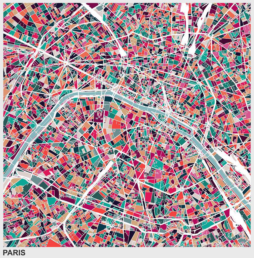 Art Illustration Style Map Of Paris City Digital Art by Shuoshu