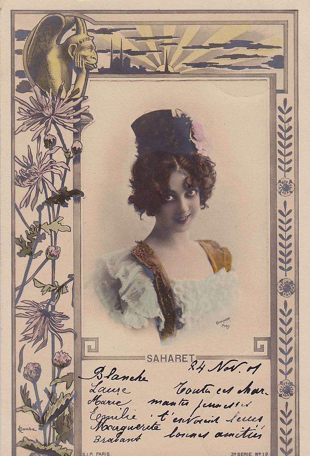 Art Nouveau Frames Reutlinger Postcard  Saharet 1901 Painting