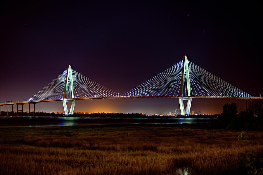 Arthur Ravenel Bridge Nightfall by Robbie Bischoff