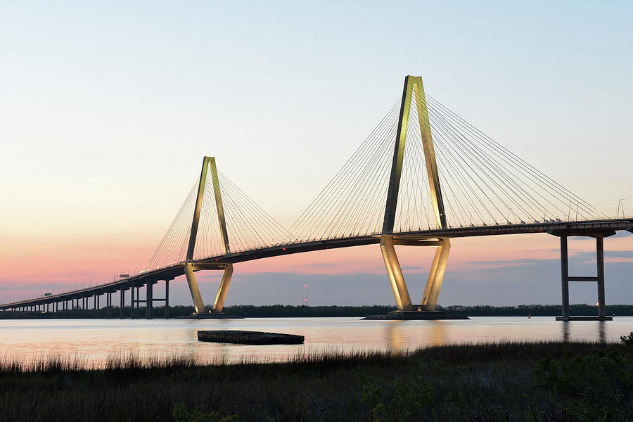 Arthur Ravenel Jr Bridge At Sunset Photograph by Aimintang