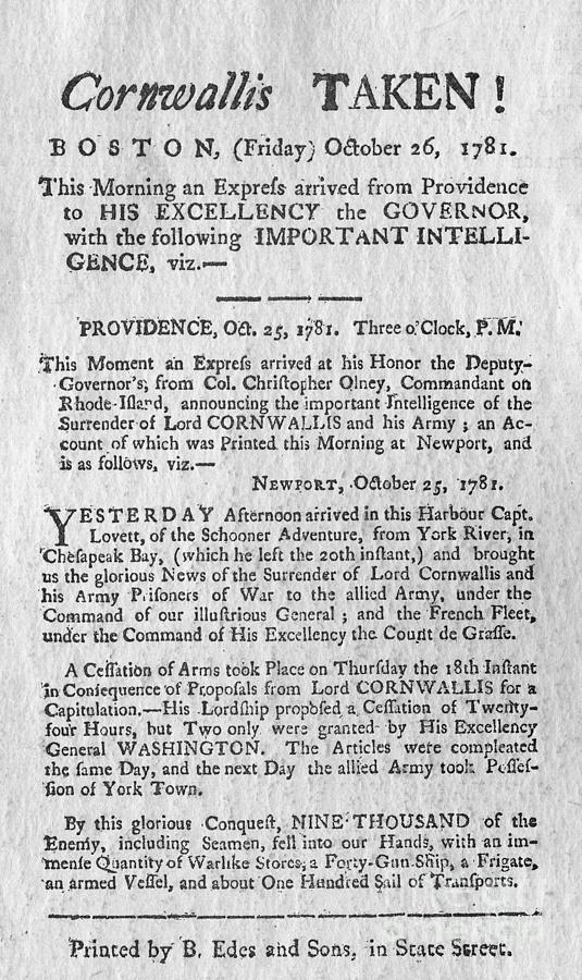 Article Announcing British Surrender Photograph by Bettmann