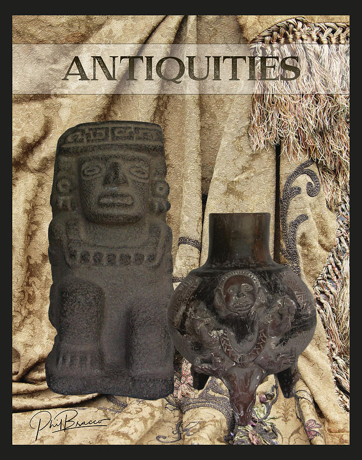 Artifacts,Stone Statue and a Clay Vase by Philip Bracco