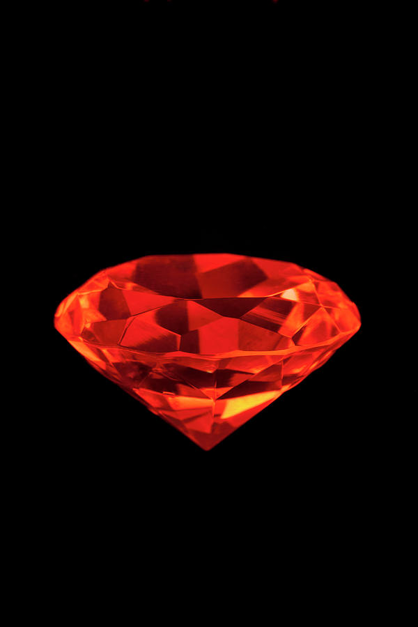 Artificial Diamond Lit With Red Light Photograph by Nicholas Rigg