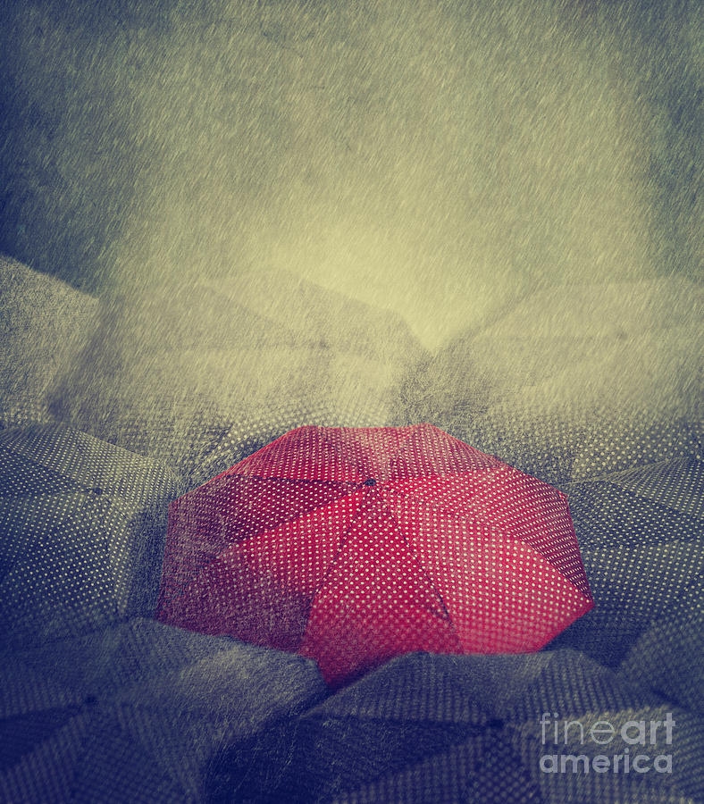 Love Photograph - Artistic Image Of Red Umbrella Standing by Hitdelight
