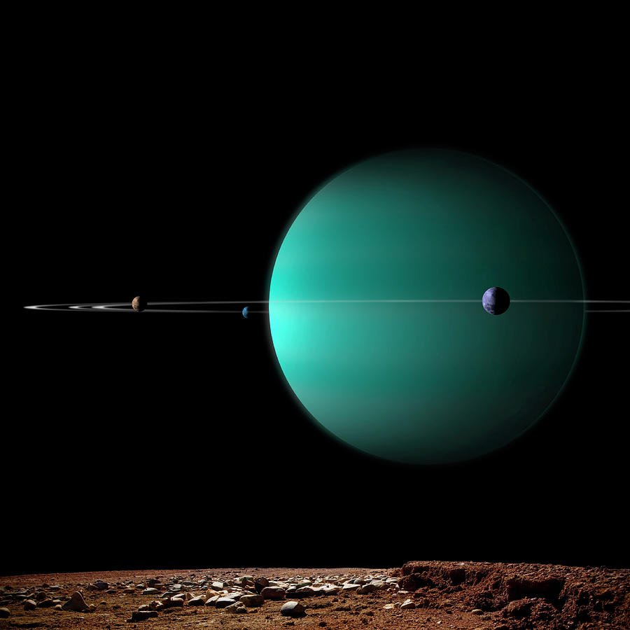 Artists Depiction Of A Ringed Gas Giant Digital Art by Marc Ward/stocktrek Images