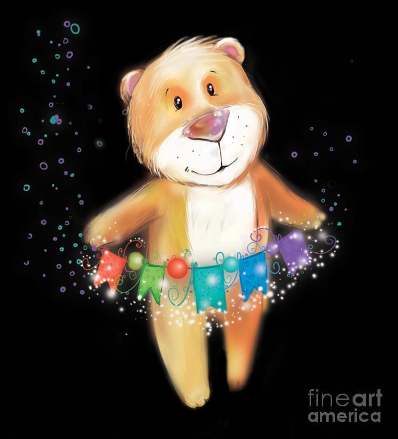 Gift Digital Art - Artoon Bear  On A Black Background. New by Stryhelskaya Volha
