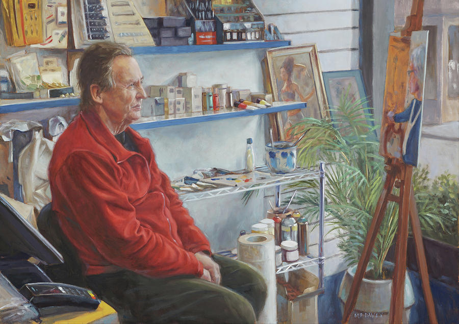 Artshop owner with his painting by Martin Davey