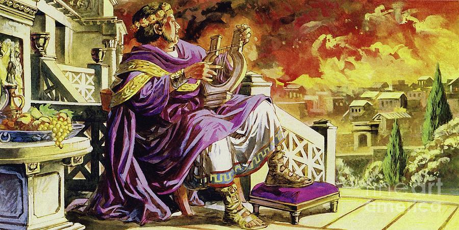 Donald Trump ngalaksanakeun kecapi bari Roma nundutan, sapertos Kaisar Nero