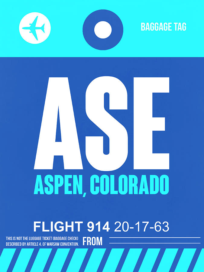 Aspen Digital Art - Ase Aspen Luggage Tag II by Naxart Studio