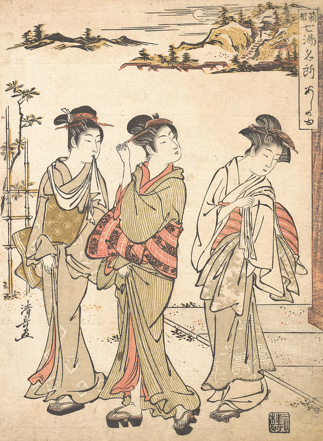 Japanese Painters Relief - Ashinoyu Spring In Hakone by Torii Kiyonaga