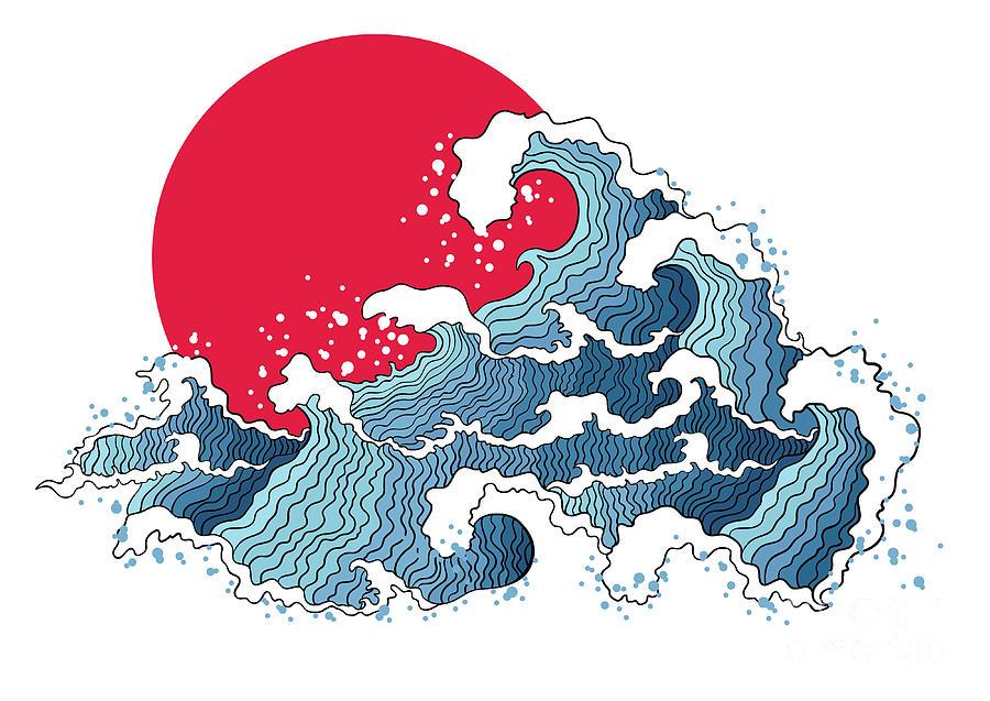 Sunrise Digital Art - Asian Illustration Of Ocean Waves And by Annykos