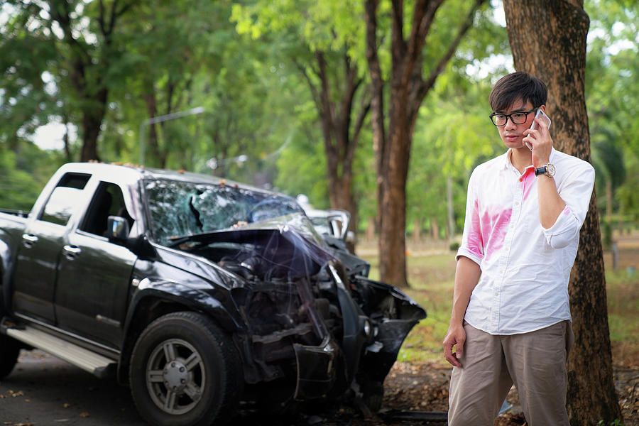 Asian man hangover and get car accident by Anek Suwannaphoom