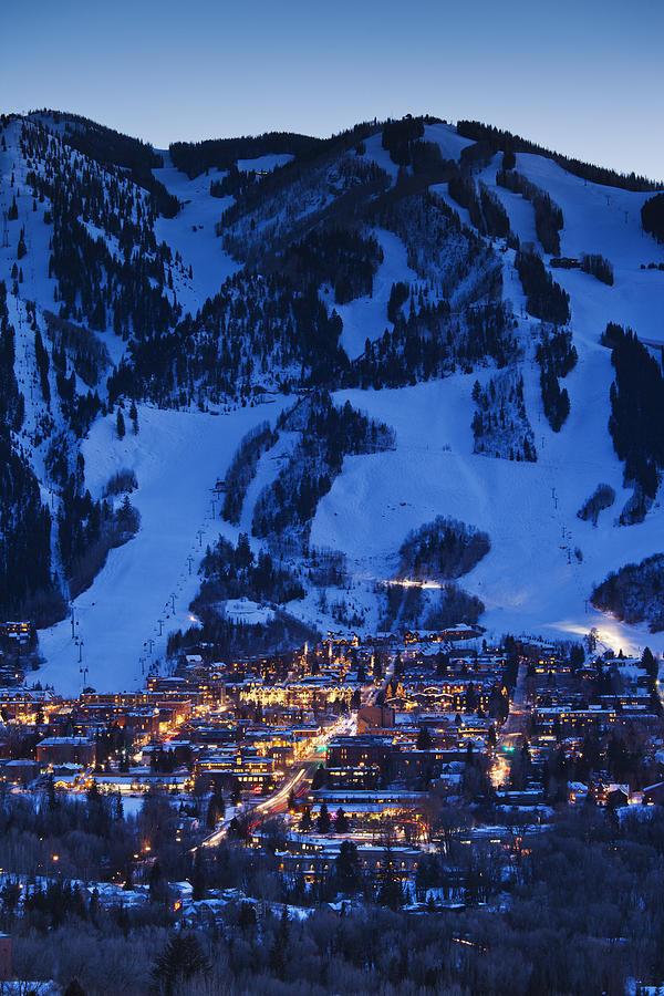 Aspen Mountain, Winter Photograph by Walter Bibikow