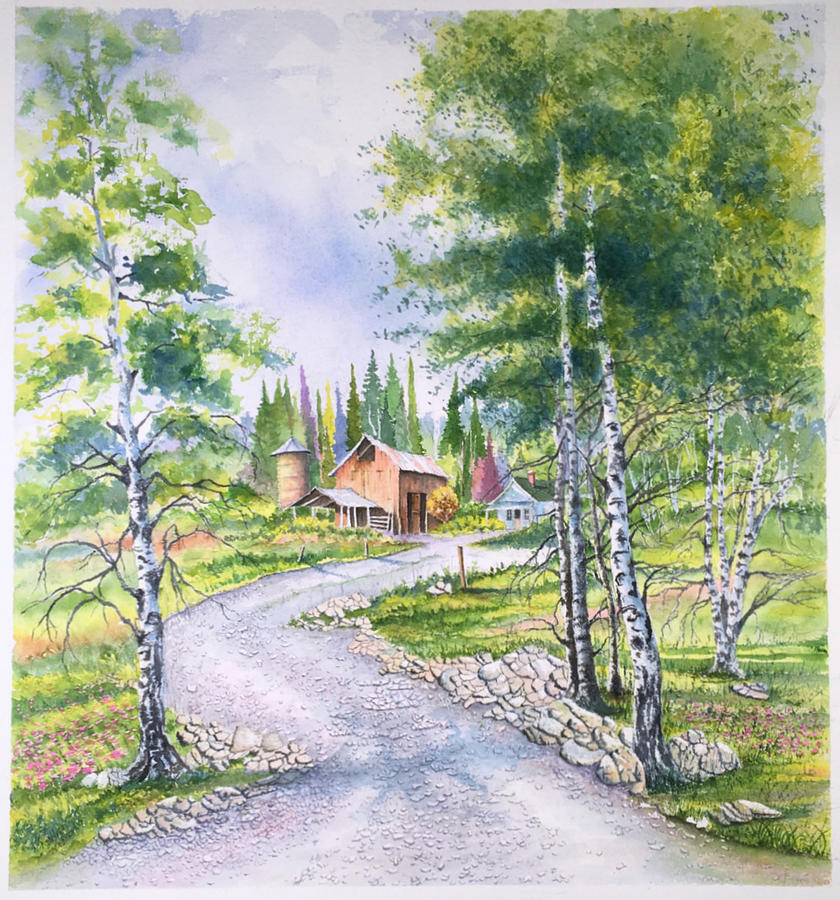 Aspen Trees and Farm by Richard Benson