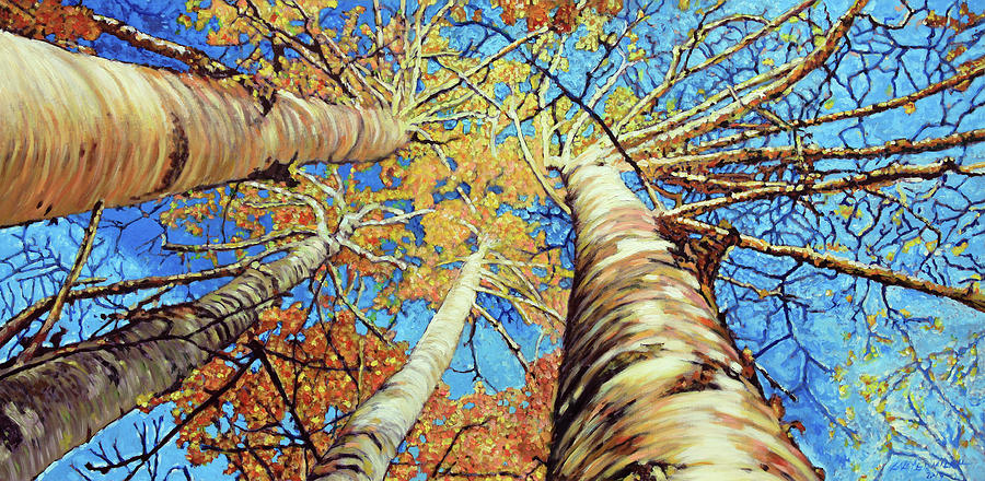 Aspens Painting - Aspens in Colorado by John Lautermilch