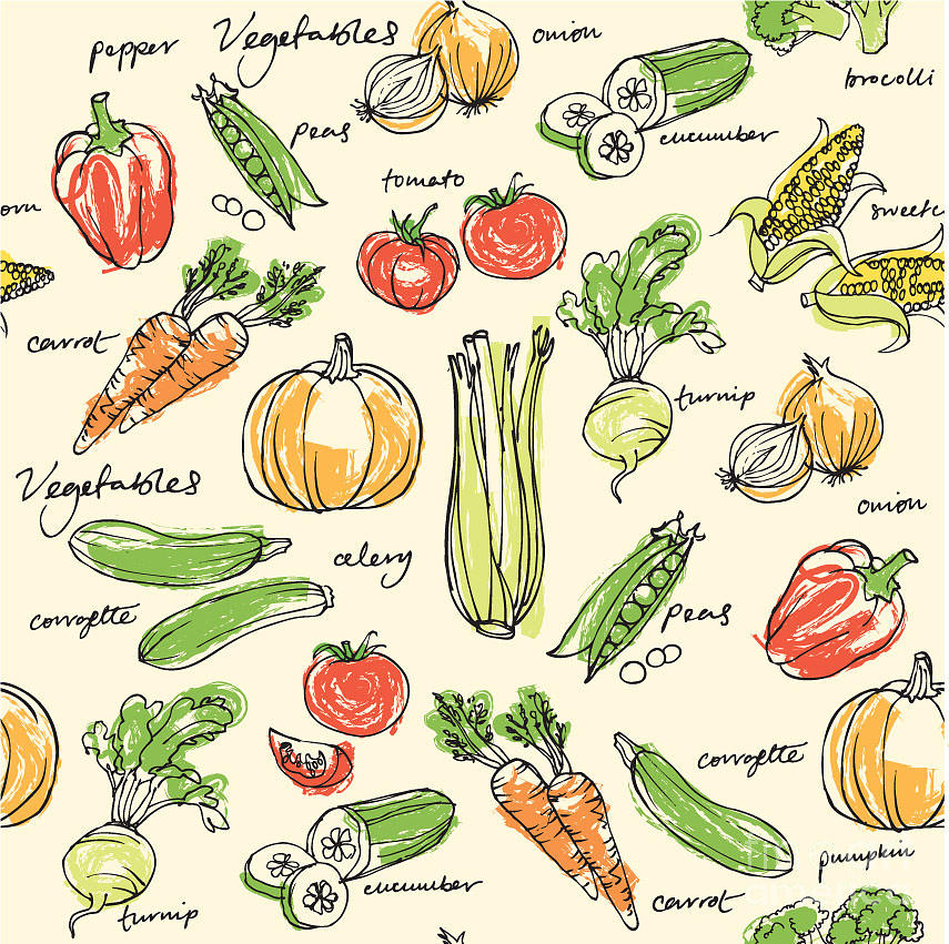 Peas In A Pod Digital Art - Assorted Vegetables Seamless Pattern by Ohn Mar
