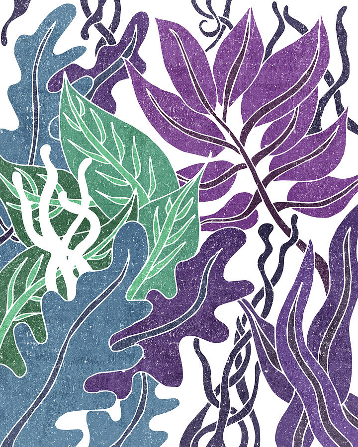Assortment Of Leaves 2 - Exotic Boho Leaf Pattern - Colorful, Modern, Tropical Art - Blue, Purple Mixed Media