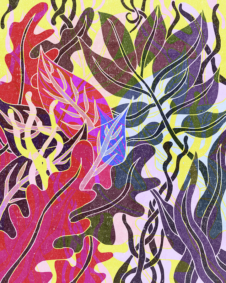 Assortment Of Leaves 5 - Exotic Boho Leaf Pattern - Colorful, Modern, Tropical Art - Red, Purple Mixed Media