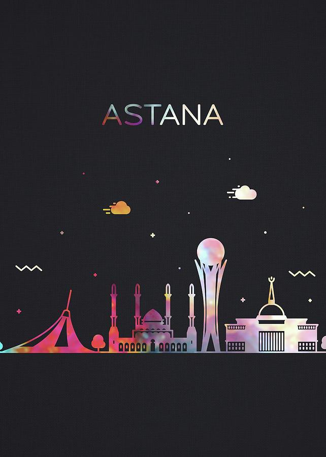 Astana Mixed Media - Astana Kazakhstan City Skyline Whimsical Fun Dark Tall Series by Design Turnpike