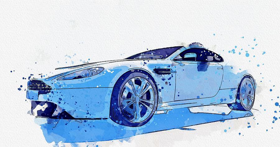Aston Martin Vantage Sports Car Watercolor By Ahmet Asar Painting By Ahmet Asar