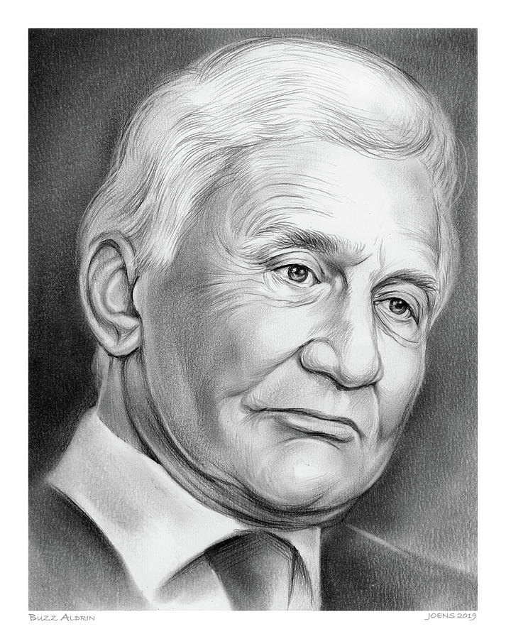 Astronaut Drawing - Astronaut Buzz Aldrin by Greg Joens