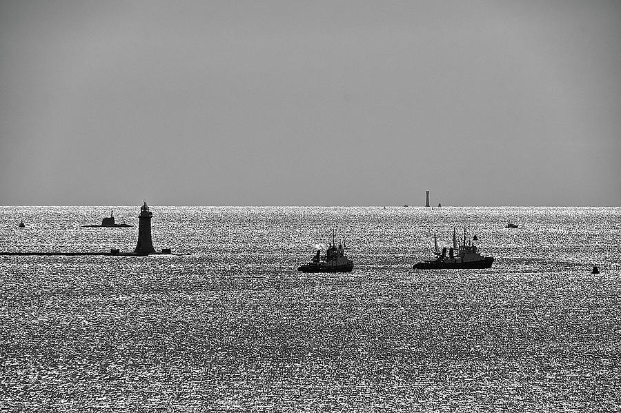 Astute Class attack submarine about to enter Plymouth Sound by CHRIS DAY