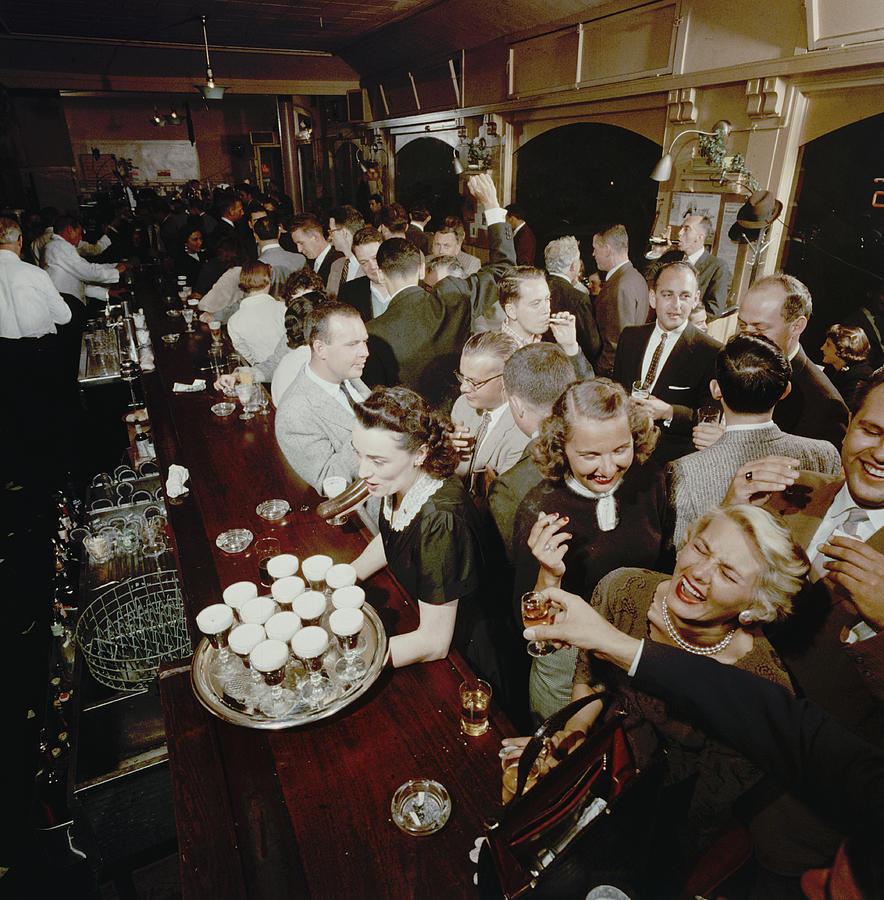 At The Buena Vista Bar Photograph by Nat Farbman