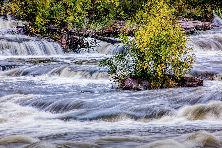 At the Top of the Water Falls at Falls Park in Sioux Falls South by Randall Nyhof