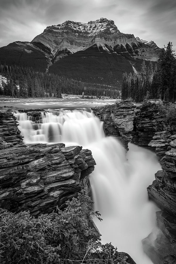 Athabasca falls in Black and White by Pierre Leclerc Photography