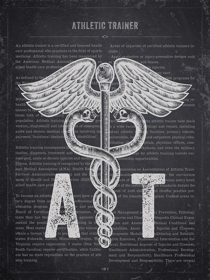 Athletic Trainer Digital Art - Athletic Trainer Gift Idea With Caduceus Illustration 02 by Aged Pixel