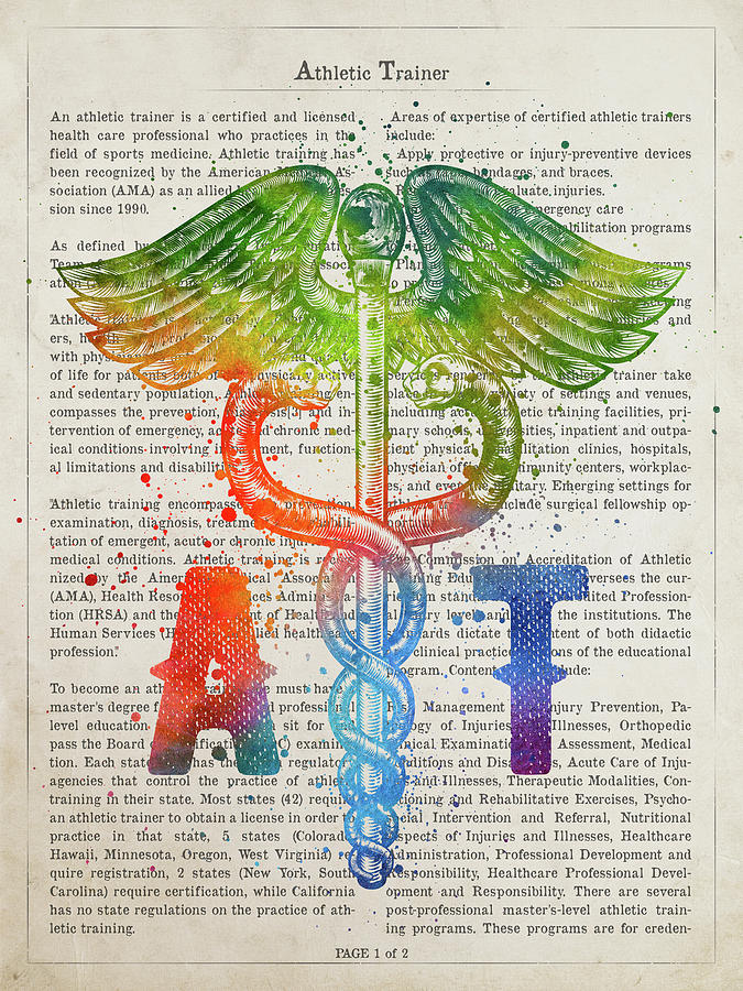 Athletic Trainer Digital Art - Athletic Trainer Gift Idea With Caduceus Illustration 03 by Aged Pixel