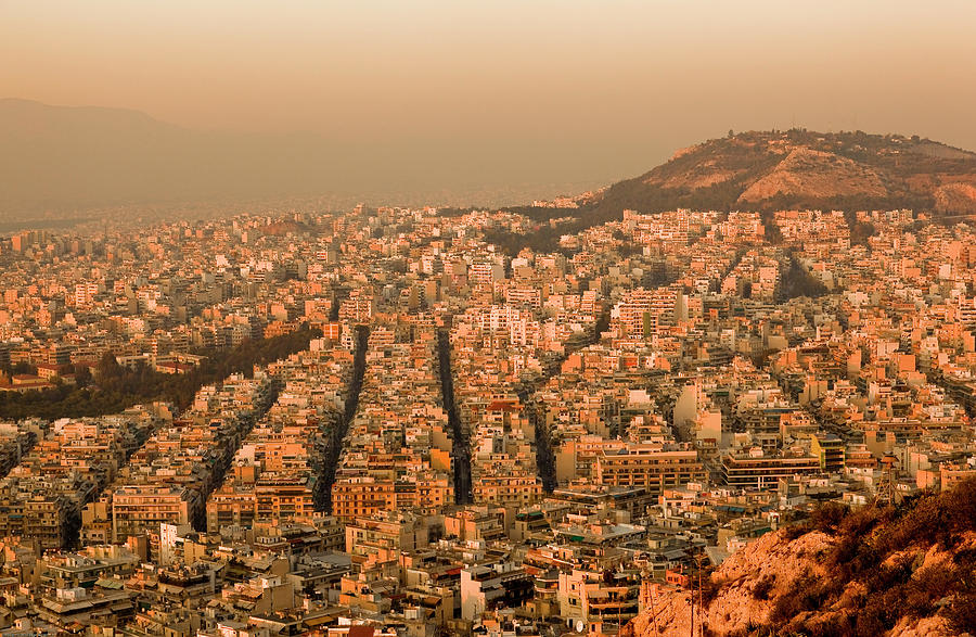 Athens At Sunset Photograph by Property Of Olga Ressem.