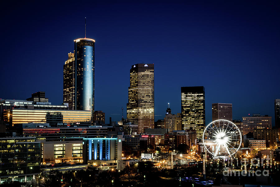 Atlanta Ga Downtown Skyline At Night by SANJEEV SINGHAL