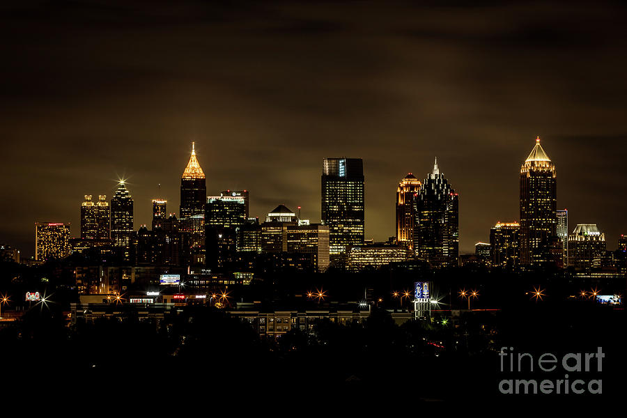 Atlanta GA Skyline Night by SANJEEV SINGHAL
