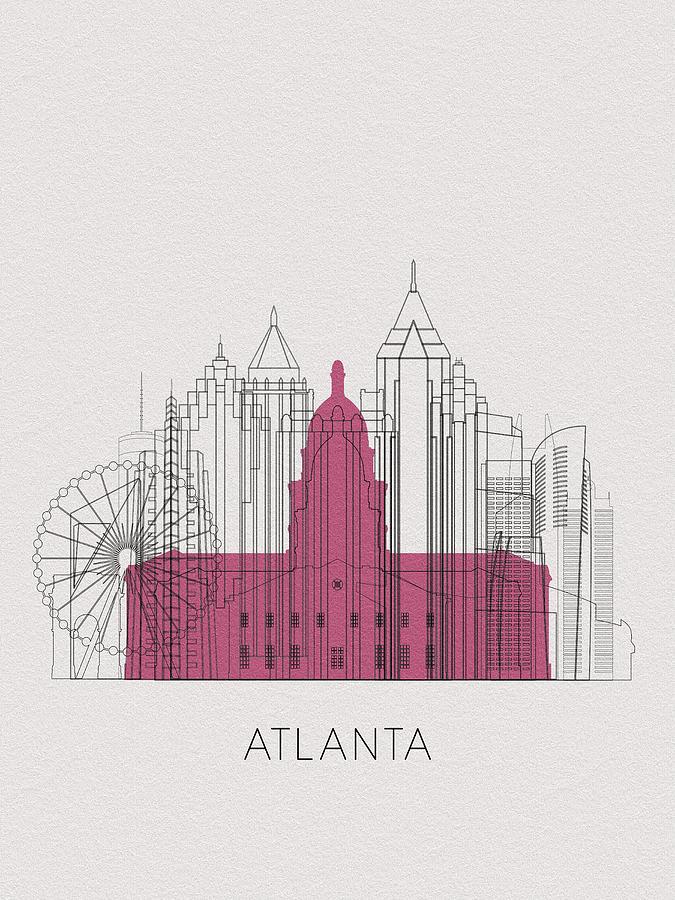 Atlanta Digital Art - Atlanta Landmarks by Inspirowl Design