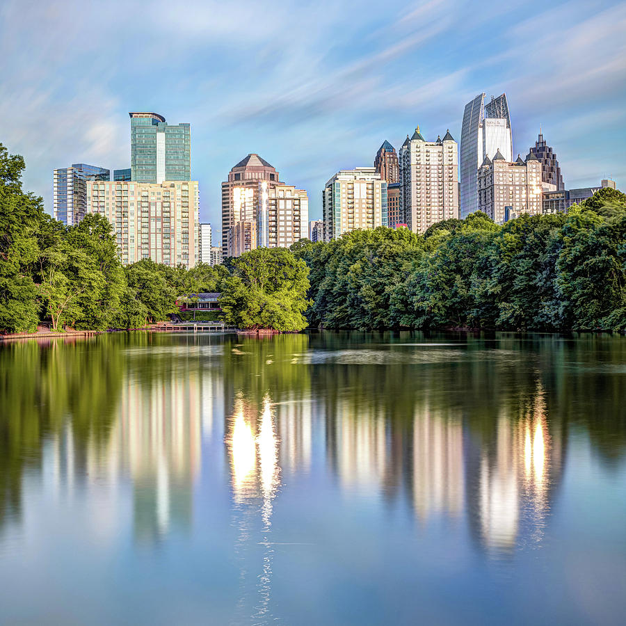 Atlanta Skyline On Lake Clara Meer - Piedmont Park View 1x1 by Gregory Ballos