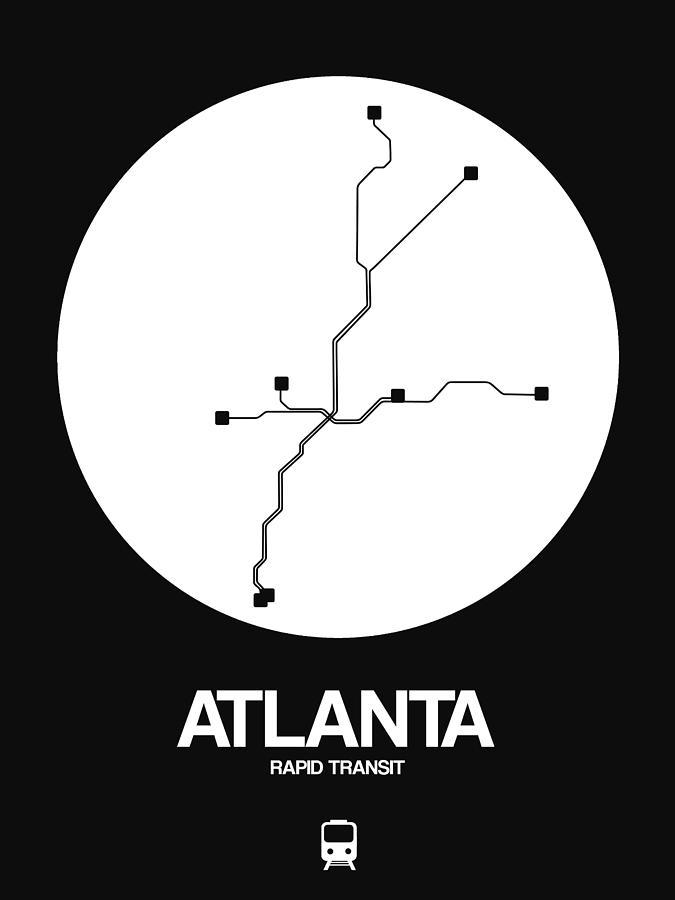 Atlanta Digital Art - Atlanta White Subway Map by Naxart Studio