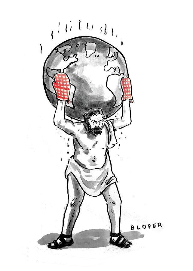Atlas Holding the Hot World Drawing by Brendan Loper