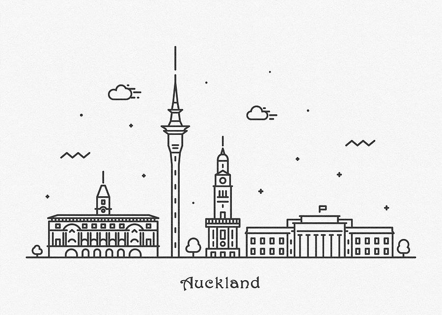 Auckland Drawing - Auckland Cityscape Travel Poster by Inspirowl Design