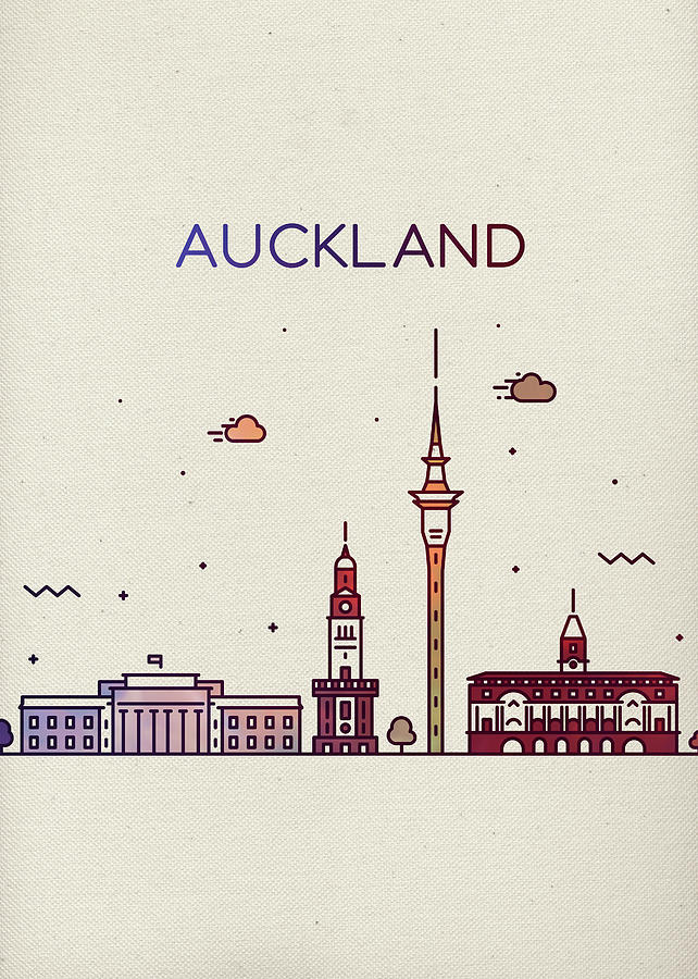 Auckland Mixed Media - Auckland New Zealand City Skyline Whimsical Fun Tall Bright Series by Design Turnpike